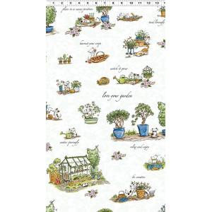 Ткань Cats in the Garden Anita Jeram by Clothworks