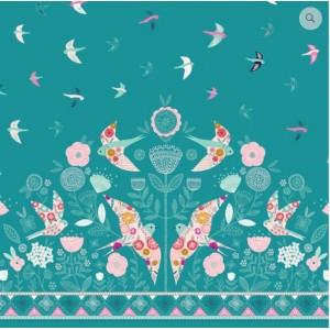 Ткань Dashwood Summer Dance Double Border Aqua