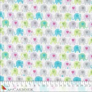 Ткань Multicolor Elephants Fabric Traditions