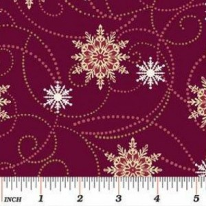 Ткань Flakes and Flurries Burgundy 2727-88 Benartex