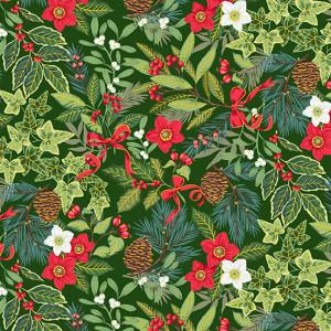 Ткань Yuletide Foliage Green Makower UK