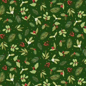 Ткань Yuletide Scatter Green Makower UK