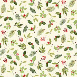 Ткань Yuletide Scatter Cream Makower UK