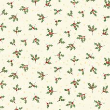 Ткань Yuletide Holly Cream Makower UK