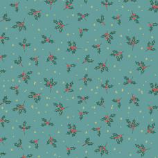 Ткань Yuletide Holly Teal Makower UK