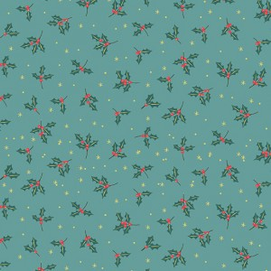 Ткань Yuletide Holly Teal Makower UK