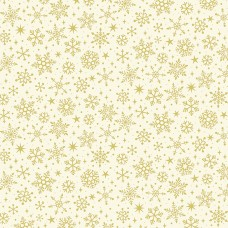 Ткань Yuletide Metallic Snowflake Cream Makower UK