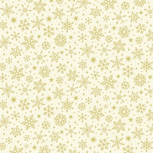 Ткань Yuletide Metallic Snowflake Cream Makower UK
