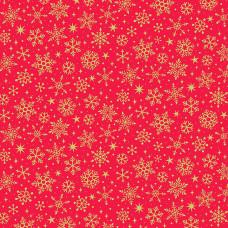 Ткань Yuletide Metallic Snowflake Red Makower UK