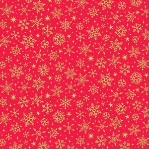 Ткань Yuletide Metallic Snowflake Red Makower UK