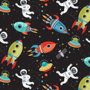 Ткань Outer Space Scene Black Makower