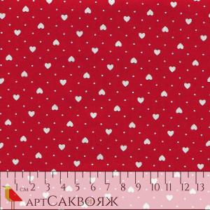 Ткань Hearts Red Makower