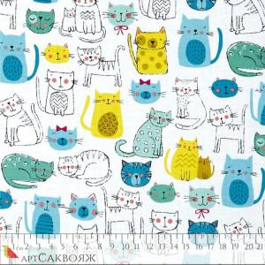 Ткань Kitty Cats Multi Makower UK