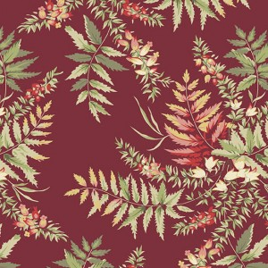 Ткань The Seamstress Fern Cranberry Makower UK