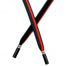 Шнур плоский нейлон 1*130см с наконечником, черный/зеленый/красный