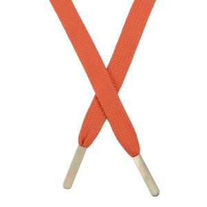 Шнур плоский хлопковый 1,2*130 см, с наконечником, оранжевый