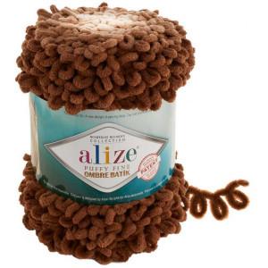 Пряжа Alize Puffy Fine Ombre Batik темно-бежевый 7262