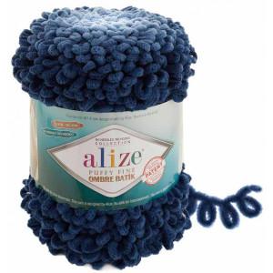 Пряжа Alize Puffy Fine Ombre Batik темный джинс 7266