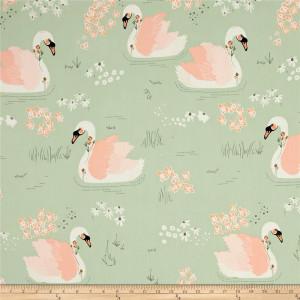 Ткань Hello, Ollie Dabbling Swan Pistachio AGF