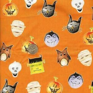 Ткань Halloween Delightfully Frightful Orange Henry Glass