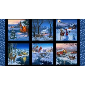 Panel Christmas Snow Landscape Scenery Snowflakes Elizabeth Studio