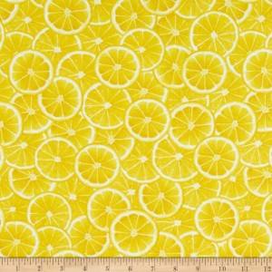 Ткань Lemon Fresh Citris Slices Lemon Yellow Benartex