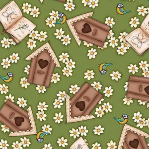 Ткань BIRDHOUSES GREEN Quilting Treasures