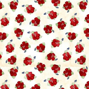 Ткань Hungry Animal Alpha Hibiscus Toss Cream Quilting Treasures
