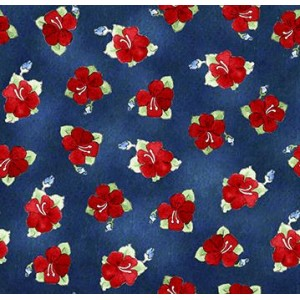 Ткань Hungry Animal Alpha Hibiscus Toss Navy Quilting Treasures