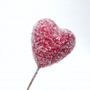 Сердце засахаренное на проволоке 6х15 см