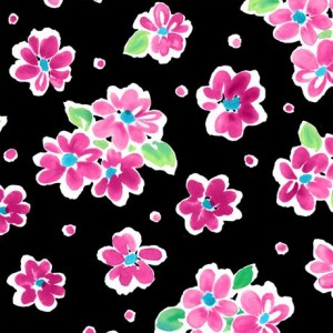 Ткань TOSSED FLORAL FUCHSIA Quilting Treasures