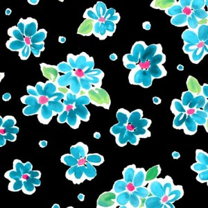 Ткань TOSSED FLORAL TURQUOISE Quilting Treasures