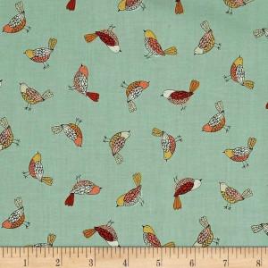 Ткань BIRDS Turquoise, Makower