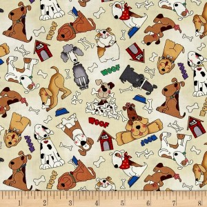 Ткань LOVE is a Four Legged Word Dogs Fabri-Quilt