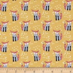 Ткань Wee Gallery Hilltop, Foxes on Yellow Gold from Dear Stella Fabrics