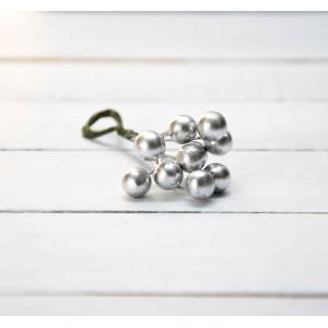 Ягоды гладкие маленькие цвет Серебро размер 6 мм