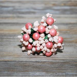 Букетик декоративный из тычинок с ягодой цвет Розовый