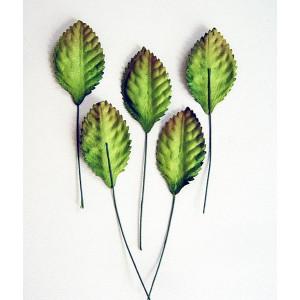 Листья со стеблем цвет Зеленый маленькие размер 3 см -10 шт.