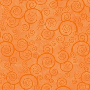 Ткань CURLY SCROLL TANGERINE Quilting Treasures