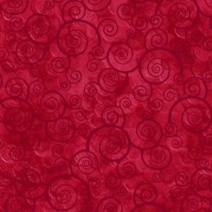 Ткань CURLY SCROLL RED Quilting Treasures