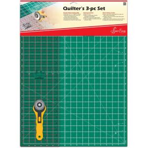 """Набор для квилтинга: мат 580 x 430 мм, линейка 24"""" x 6 1/2"""", нож раскройный круглый 45 мм, Sew Easy"""