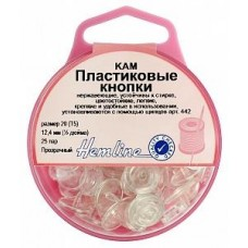Кнопки пластиковые 12.4 мм, ПРОЗРАЧНЫЙ