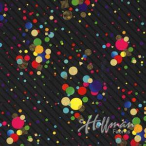 Ткань It's My Party Dots Rainbow/Gold Hoffman California