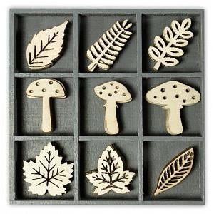 """Декоративные элементы из дерева в коробочке """"Грибы и Листья"""""""