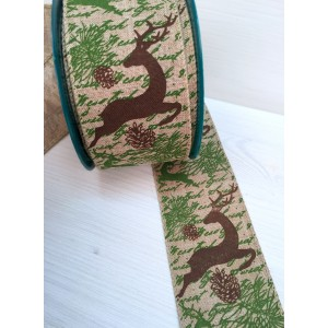 Лента льняная ОЛЕНЬ, Зеленый, 60 мм