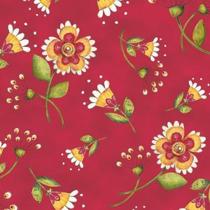 Ткань FLOWER TOSS RED Quilting Treasures
