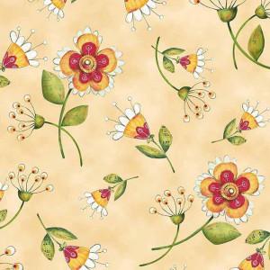 Ткань FLOWER TOSS LT. HONEY Quilting Treasures