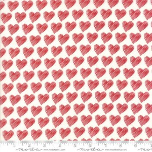 Ткань Love Scribble Hearts White Red by Sandy Gervais, Moda Fabrics
