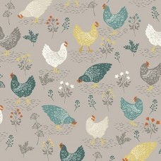 Ткань Claras Garden Chickens Grey Makower UK