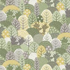 Ткань Claras Garden Trees Green Makower UK